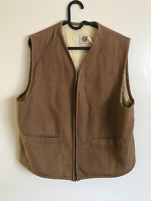 Vintage Carhartt Sherpa Lined Work Vest Made USA Large L Duck
