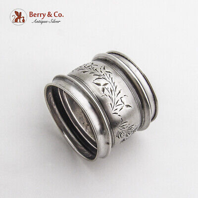 Bright Cut Foliate Napkin Ring Gorham Sterling Silver 1881 Henry