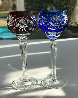 """2 Vintage Bohemian Czech Crystal Cut to Clear 5-3/4"""" Cordial Sherry Stem Glasses"""