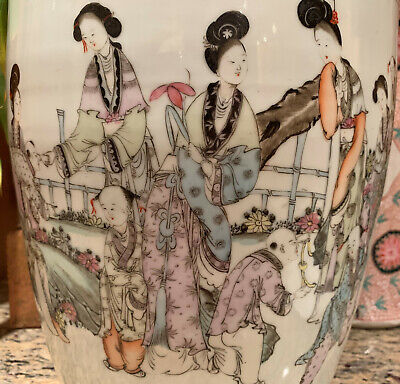 A Large Chinese Republic Period Famille Rose Porcelain Vase. Signed.