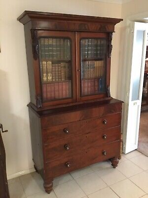 Antique Flame Mahogany Bookcase (contents included!)
