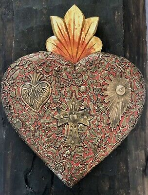 "XLG 19"" Red MILAGROS SACRED HEART Ex Votos Carved Wood Mexican Folk Art"