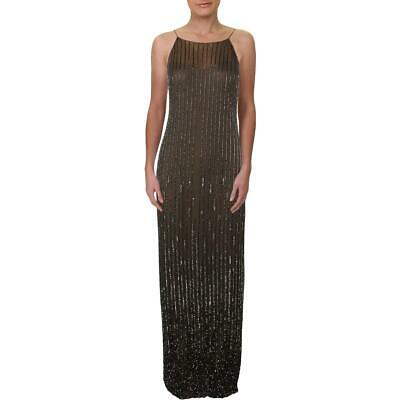 Adrianna Papell Womens Gray Embellished Column Evening Dress Gown 6 BHFO 2794
