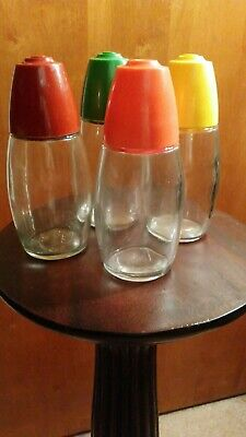 Glass Shakers Lot. 3 Westinghouse & 1 Gemco Plastic Lids Red Orange Green Yellow