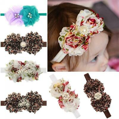 Infant Baby Girls Rhinestone Crown Turban Flowers Hair Band Headband