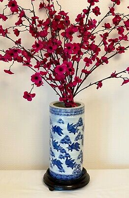 Chinese Blue And White Vase  Vintage Porcelain Oriental Vase 10.5 Ins Tall