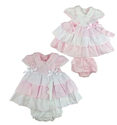 Baby Girls Spanish Style Romany Pink & White Bows Dress Pants & Headband Outfit