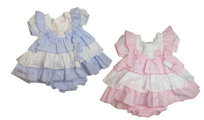Baby Girls Spanish Style Romany Pink or Blue Tier Dress Pants & Headband Outfit