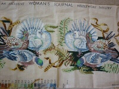 """Large Vintage Woman's Journal """"Pigeons In The Park"""" Tapestry Kit"""