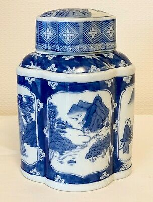 Vintage Chinese Tea Caddy Porcelain Blue And White Tea Storage Jar 9 Ins Tall