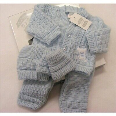 Baby Boys Boxed Spanish Romany Blue Teddy Bear Knitted 4 Piece Outfit Newborn