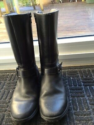 Clarks girls black leather long boots, size 1.5E, very good condition