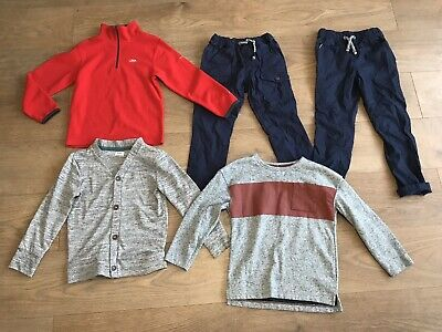 Boys bundle 5-6 years red trespass fleece pull up trousers jumper cardigan G15