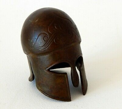 Small Ancient Greek Corinthian Helmet Museum Replica Bronze Metal Artefact
