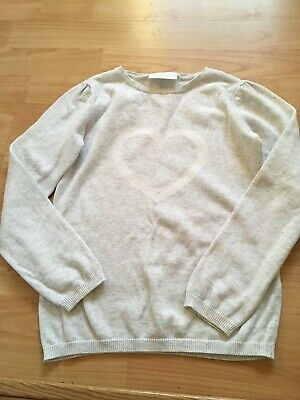 The Little White Company Girls 7-8 Years Heart Intarsia Cotton Knit Jumper