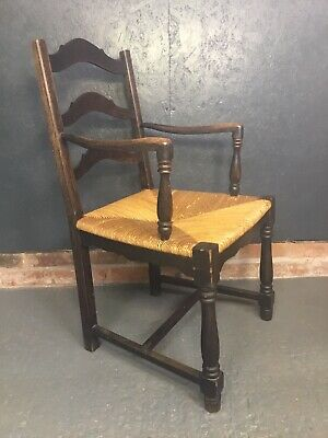 Antique Oak Armchair Arts & Crafts Style Rush Seat Spindle Back