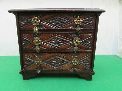 Victorian Carved Oak Miniature Apprentice Chest Of Drawers, Figural Handles