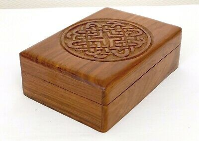 VINTAGE ROSEWOOD CHINESE JEWELLERY WOOD CARVED TRINKET BOX WOODEN  7 x 5 ins