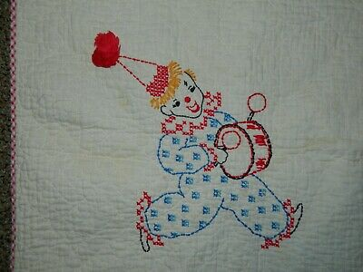 VTG Vintage Circus Theme Cross Stitch Baby Blanket Red Gingham Trim