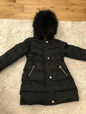 TED BAKER Girls Black Coat Jacket With Hood, Age 6, Fantastic Condition