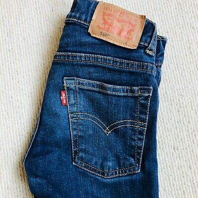 Levis 510 Skinny Jeans Boys Blue Age 6 (right Knee Small Damage - See Photos)