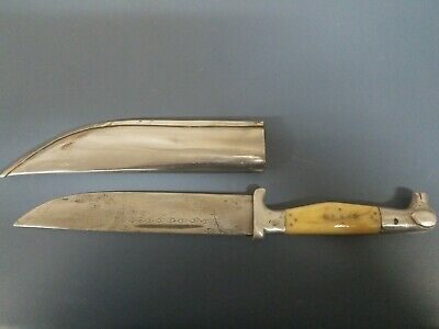 Antique Balkan Turkish Engraved Dagger Knife With Metal Case