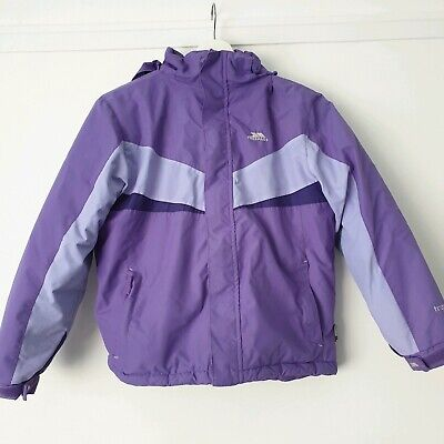 Girls Trespass Age 9 10 Padded Waterproof Hooded Jacket Purple TP75