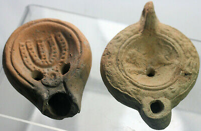 Two pottery oil lamps - possibly Roman