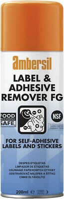 Pack of 6 Ambersil 200ml Label & Adhesive Remover FOOD SAFE FG NSF K3  30254
