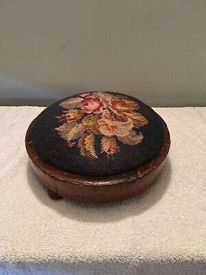 Small Vintage Bun Foot Stool with pretty tapestry top 28cm Diameter