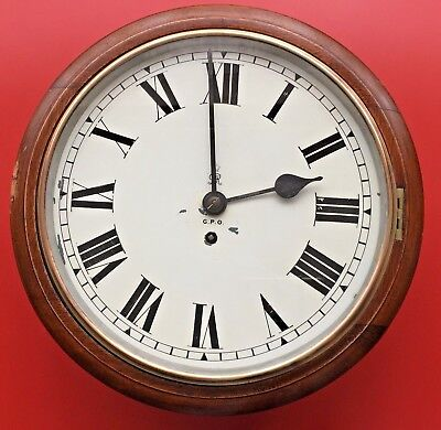 FUSEE WALL CLOCK 1930GVR GPO 12 INCH DROP DIAL ~ 8 day Movement ~ Fully working