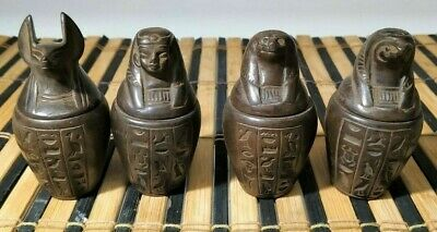 Rare Ancient Egyptian Antiques Faience stone Canopic Jars ( 690–669 BC)