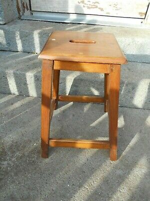 Vintage French laboratory stool oak