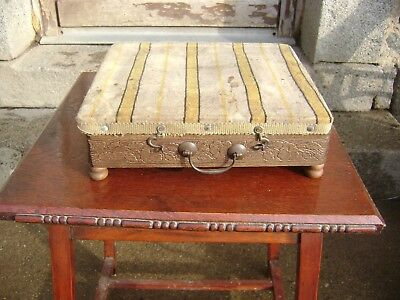 Antique  French Chaufferette pose pieds wooden foot warmer/stool