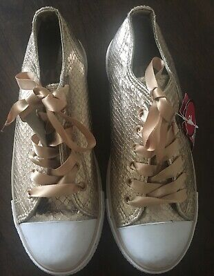 BNWT ROSE GOLD SNAKESKIN GIRLS LADIES SNEAKERS TRAINERS SHOE SIZE 2uk/3 US/34EUR