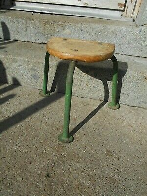 Vintage French 3 legged stool half moon industrial metal legs