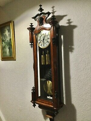 19th century Gustav Becker Large twin weighted Wall clock