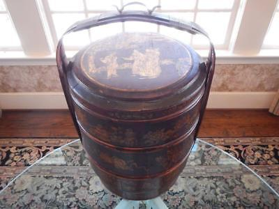 Late 1800s Antique Oriental Chinese Asian Lacquered Gilt Shanxi Wedding Basket