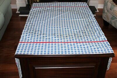 "Vintage Blue and White Checked Gingham Rectangular Tablecloth 53"" x 48"""
