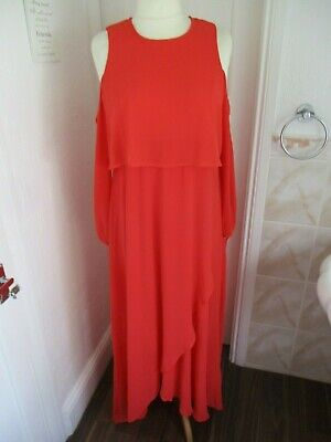 BOOHOO Maternity Coral Chiffon Long Sleeve Cold Shoulder Maxi Dress Size 16 BNWT