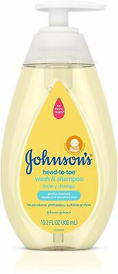 4 Pack Johnsons Head To Toe Wash & Shampoo Gently Cleanses 10.2 Ounces Each