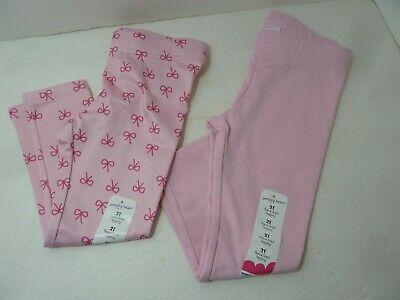 2 Pairs Girls Jumping Beans Fleece-Lined Leggings Pink Solid & Pink Ribbons Sz 2