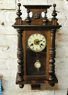 1890s VICTORIAN  VIENNA WALL CLOCK with CHIMES in GOOD WORKING CONDITION