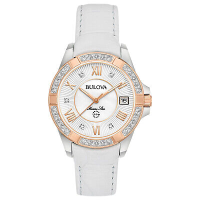 Bulova Women's Quartz Marine Star Diamond Accent White Leather 32mm Watch 98R233