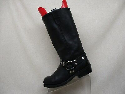 Double H Black Leather Harness Cowboy Motorcycle Riding Boots Mens Size 8 D