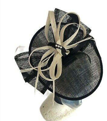 Debut  Hat Fascinator Navy Cream Headpiece Clip Embellished Wedding Race Day