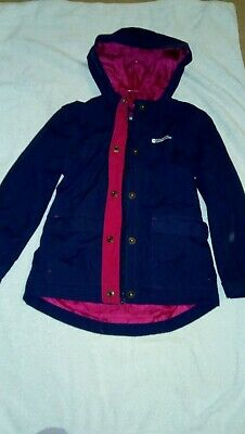 Girls Mountain Warehouse waterproof jacket Age 7-8 Blue perfect for school