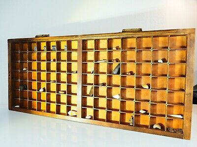 Vintage Letterpress Wooden Printers Tray brass detailing & Ludlow Handles