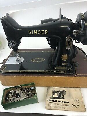Vintage Singer Sewing Machine – Model 99 99- w/ Accessories  As Is For Parts