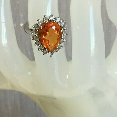 5.84 Cts Padparadscha Quartz /& White Topaz Sterling Silver Pendant Sunset Colors